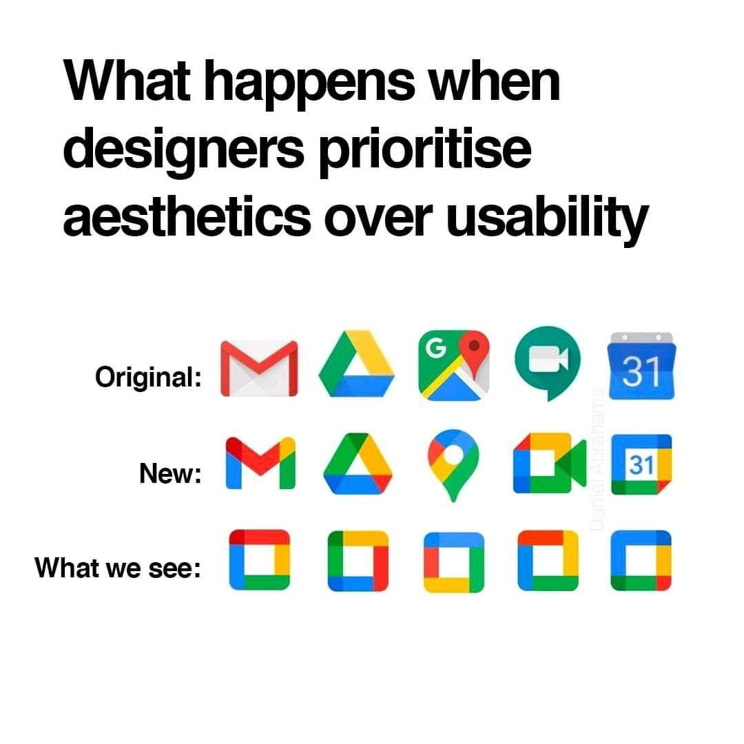 "Text that reads ""What happens when designers prioritise aesthetics over usability. Original: New: What we see:"" showing the original Google icons, the new Google icons and a row of almost identical icons, illustrating that the new icons are confusing."
