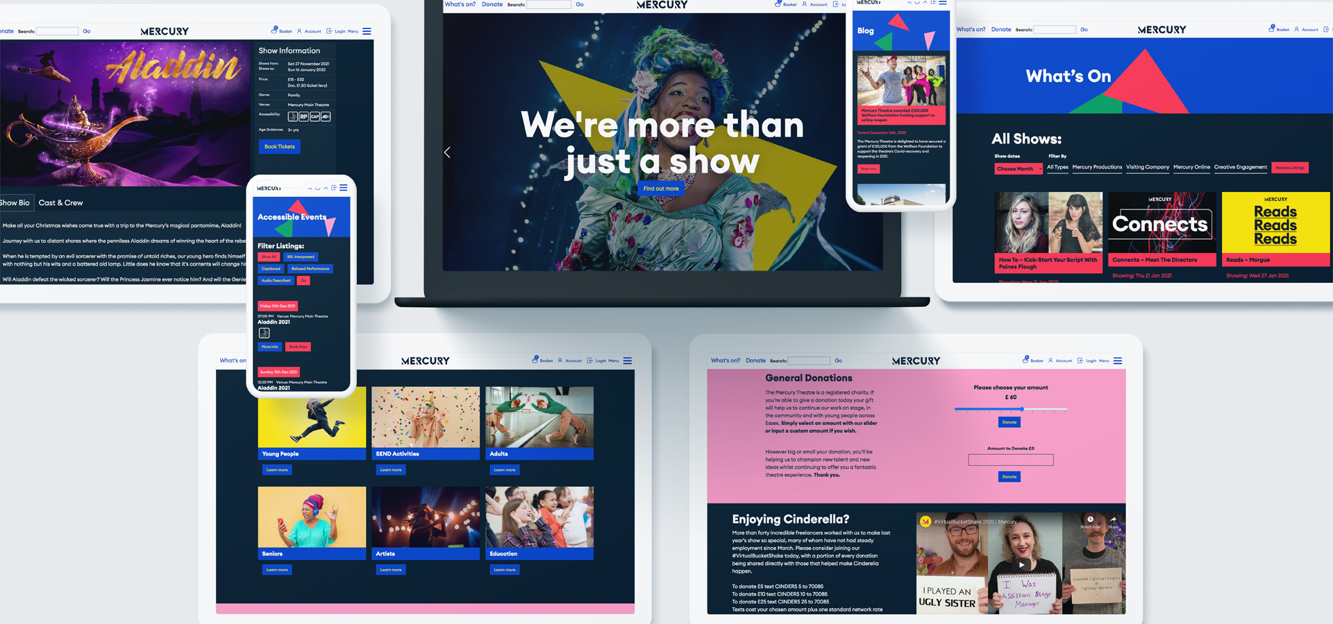 Images of the Mercury Theatre website designed by Splitpixel